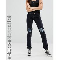 Glamorous Tall Distressed Boyfriend Jeans With Sequin Patch