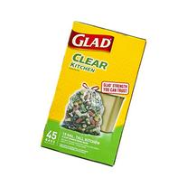 Glad Recycling Tall Kitchen Drawstring Trash Bags, Clear, 13