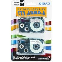 Tape Cassettes for KL Label Makers, 12mm x 26ft, Black on