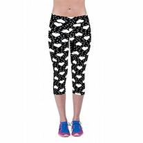 Womens Tartan Active Workout Capri Leggings Fitted Stretch