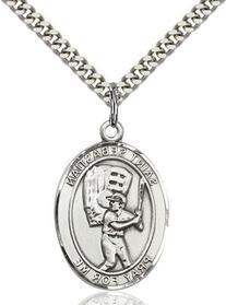 Teen Boy St. Sebastian Baseball Sterling Silver Medal with