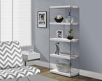 Monarch Specialties I 3289, Bookcase, Tempered Glass, Glossy