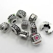 Ten Antique Silver Clip Lock Bead Charms with Rubber Stopper