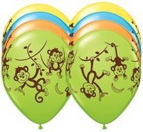 "TEN  11"" latex MONKEY GO BANANAS Happy Birthday PARTY"