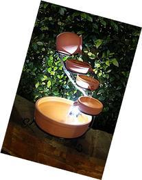 Terracotta Solar Cascade Water Fountain