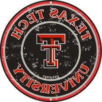 Texas Tech 12 Inch Embossed Metal Nostalgia Circular Sign