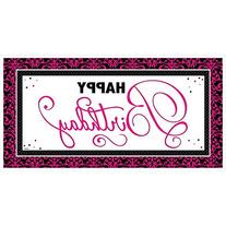 "Amscan Themed Birthday Giant Party Sign, Black/Pink, 65"" x"