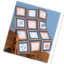 "Themed Stamped White Quilt Blocks 9""X9"" 12/Pkg-Sports"