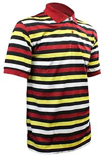 Enimay Men's Thin Striped Polo Collared Casual Short Sleeve