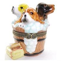 Three Puppies Bathing Washing Tub Suds Dogs Puppy Hinged