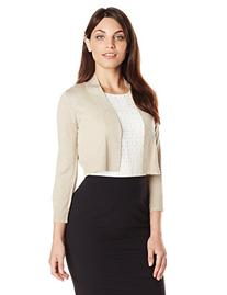 Calvin Klein Women's Petite Lurex 3/4 Sleeeve Shrug, Gold,