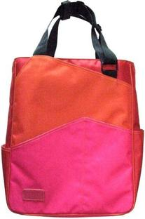 Maggie Mather Three Tone Zippered Tote Bag-Orange/Red/