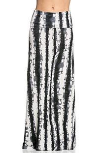 Frumos Womens Tie Dye Maxi Skirts Inkfish Black Grey X-Large