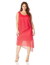 AGB Women's Plus-Size 3 Tier Asymmetric Hemline Maxi Dress,