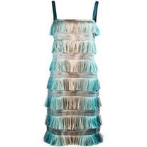 Alberta Ferretti - tiered fringe dress - women - Silk/