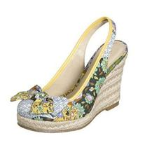 Xhilaration Tiki Womens Yellow Patchwork Floral Wedge Heels