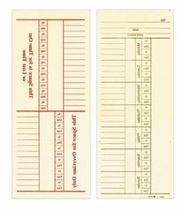 """Adams Time Cards, Weekly, 2-Sided, Overtime Format, 3-3/8"""" x"""