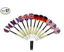 12 Pcs Tip Darts with National Flag Flights  - Stainless