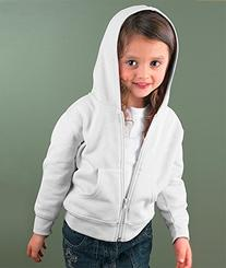 Rabbit Skins Toddler Zip Fleece Blank Hoodie  White Long