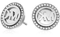 Michael Kors Silver-Tone Logo Disc Earrings
