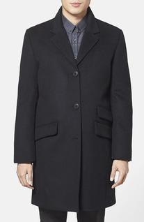 Men's  Topcoat, Size Medium - Black