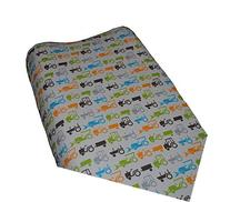 Go Mama Go Designs Tractor Trails Changing Pad Cover, White/