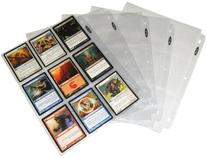 Trading Card 3-Ring Binder Pages - Holds 9 Cards - Clear -