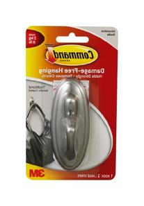 3M Command 17053BN Traditional Plastic Hook, Large, Brushed