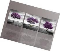 NUOLAN Canvas Print 3 Panels Purple Trees Modern Landscape