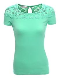 Doublju Fitted Lace Paneled T-Shirt Top  MINT SMALL