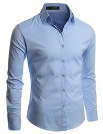 Doublju Mens Long Sleeve Collared Button Down Dress Shirt