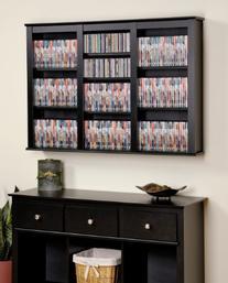 Prepac Triple Floating Media Wall Storage in Black