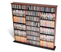 Prepac Triple Wide Wall Storage / CD Rack - Cherry & Black