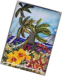 "Tropical Beach Scene Light Switch Plate Metal - ""Secret Spot"