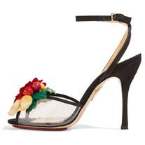 Charlotte Olympia Tropicana embellished canvas and PVC