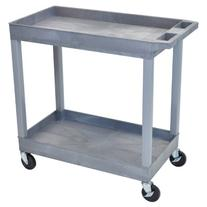 "Luxor 32"" x 18"" Tub Storage Cart 2 Shelves - Gray"