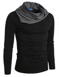 Doublju Mens Turtle Neck with Shirring Detail BLACK US - S