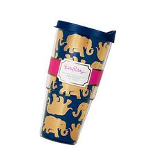 Lilly Pulitzer Tusk in Sun Insulated Tumbler with Lid, Navy/