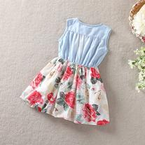 Urparcel Baby Girl Tutu Denim Dress Short Sleeve Lace