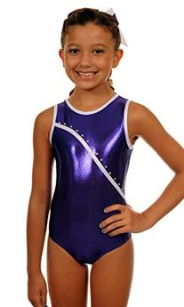 TumbleWear Girl's Leotard Bree | Purple Rhinestone-Child: 8-