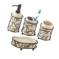 InterDesign Twigz Bath Accessory Set, Soap Dispenser Pump,
