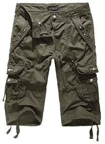 HEMOON Men's Twill Cargo Pocket 3/4 Shorts Military-Style