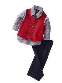 Nautica Baby Boys' Twill Vest Set, Red, 12 Months