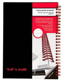 Black n' Red Twin Business Notebook, Hardcover, Wired, 8-1/4