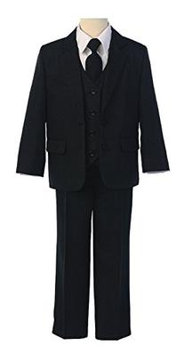 5-Piece Boys Two Button Formal Suit with Shirt and Vest -