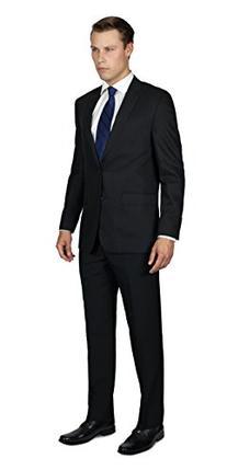 Alain Dupetit Men's Two Button Suit 42R Black
