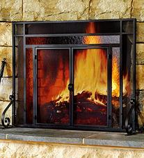 Plow & Hearth Large Fireplace Screen with Hinged Magnetic