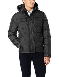 Levi's Men's Two Pocket Puffer Hooded Jacket, Black, Small