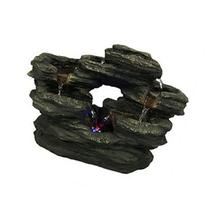 Sunnydaze Two Stream Rock Tabletop Fountain with LED Lights
