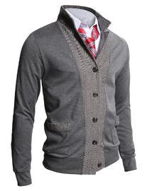 H2H Mens Two-tone Herringbone Jacket Cardigans GRAY US XL/